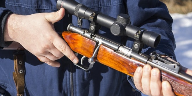 hunting rifle and scope