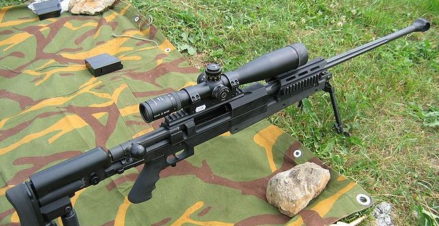 Rifle scope mounted with picatinny mount on a sniper rifle