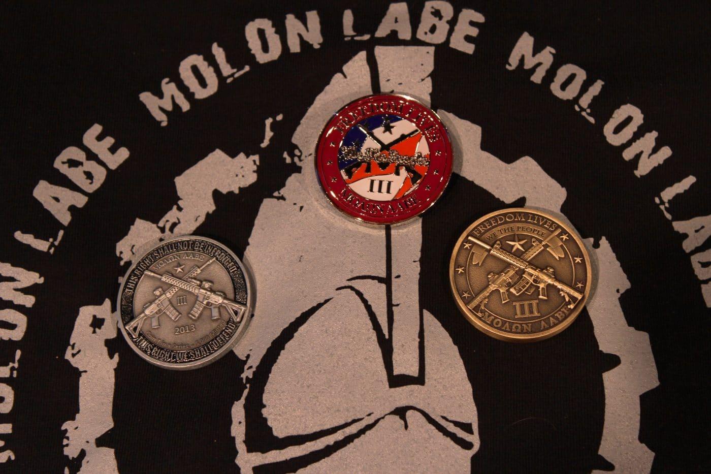Molon-Labe-Challenge-Coins on T-Shirt